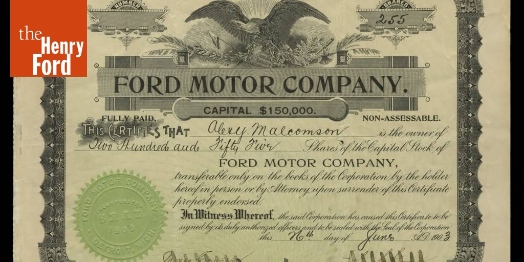 Ford Motor Company Original Stock Certificate, June 26, 1903
